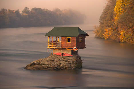 River-Perched Homes - The River House in Serbia Sits on a Rock Formation in the Middle of the Water