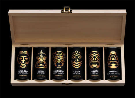 Tribal Coffee Packaging - This Exotic Coffee Box Packaging Highlights Coffee from Around the World