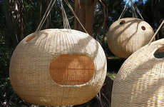Suspended Woven Dwellings - Nido by Ana Rascovsky Suspends Nest-Like Structures in the Trees