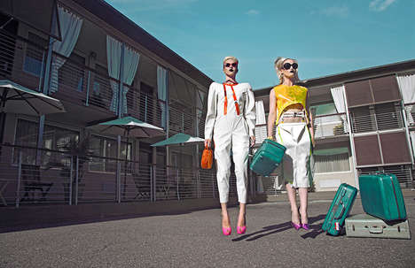 Glamorous Motel Editorials - Models are Chic Tourists in Glassbook Magazine's Vivid Fashion Story
