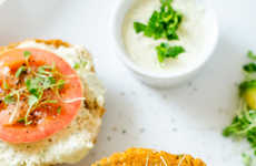 Savory Superfood Burgers - This Quinoa Sweet Potato Burger Recipe is Served with a Yogurt Sauce