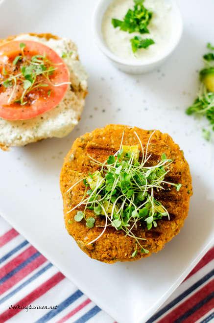 Savory Superfood Burgers - This Quinoa Sweet Potato Burger Recipe is Served with a Yogurt Sauce