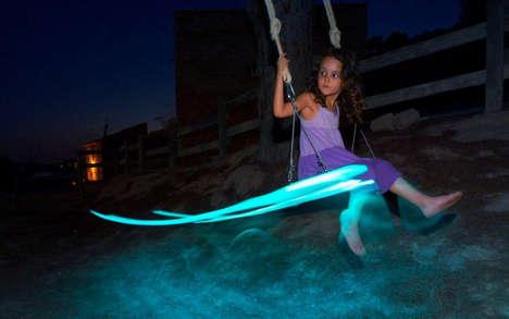 LED Tree Swings - German Gonzalez Garrido's Design Puts on a Beautiful Nighttime Light Show