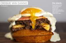 Cuisine-Fusing Sandwiches - This Open-Faced Croque Madame Burger is Stacked on a Belgian Waffle