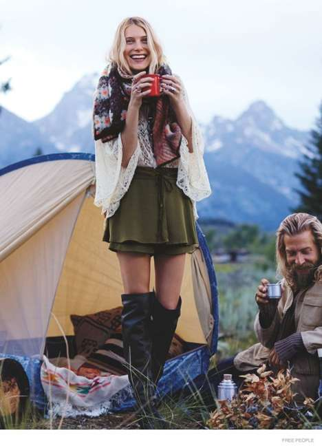 Bohemian Campfire Catalogs - The Free People October Catalog Presents a Cozy Camping Trip