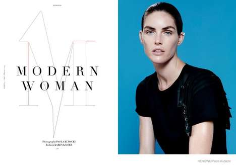 Monochromatic Fall Fashion - Model Hilary Rhoda Stars in Heroine Magazine's 'Modern Woman' Editorial