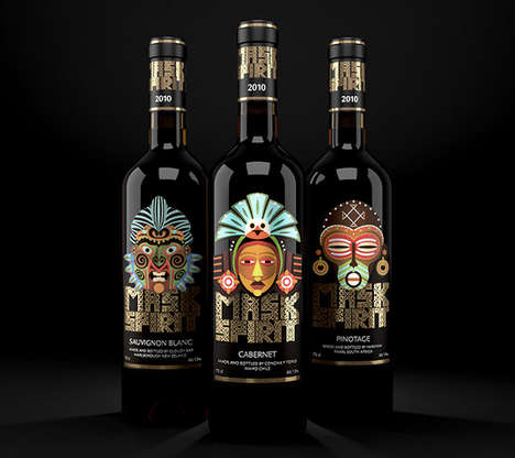 Tribal Wine Packaging - New World Wine's 'Mask Spirit' Collection Celebrates Global Wine