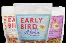 Wholesome Granola Packaging - Early Bird's Healthy Bags of Granola Branding Feel Fresh and Homemade