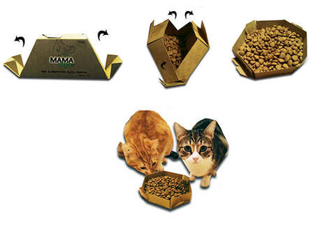 Origami Pet Bowls - This Pet Food Packaging Design Unfolds into a Handy Bowl