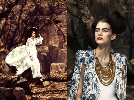 Luxe Oriental Fashion - Glassbook Magazine's Yubi Image Series Highlights Cultural Couture