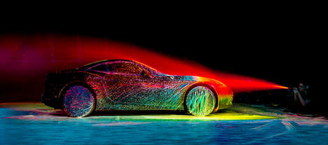 Rave-Like Car Animations - The State of the Art Ferrari Project Uses Neon Paint to Demonstrate Speed