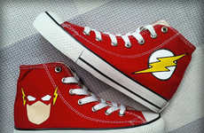 Customized Flashy Footwear - These Hand Painted Sneakers Celebrate The Flash Premiere on The CW