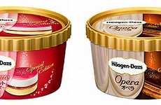 Opulent Layered Ice Creams - Haagen-Dazs' Decadent Ice Cream is Topped with Gold & Silver Leaf