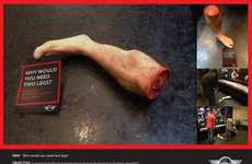 Severed Limb Stunts - A Model of a Severed Leg is the Star of This Mini Cooper Advertising Stunt