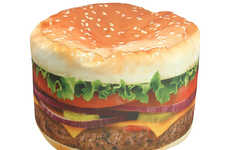 Comfy Cheeseburger Chairs - This Realistic Hamburger Bean Bag Will Look Delicious in Your Home