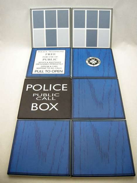 Time Machine Mug Mats - Combined, Each Part of This 8-Piece Tardis Coaster Set Creates a Phone Booth