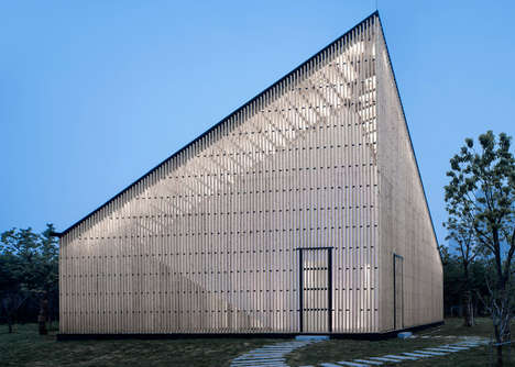 Organic Garden Chapels - The Nanjing Wanjing Garden Chapel Features a Butterfly Roof