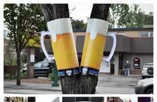 Paper Stein Ads - This Clever Beer Advertisement Makes Use Public Trees and Poles