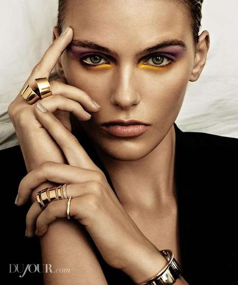 Playful Eyeshadow Editorials - Dujour's Madison Headrick Feature Highlights Colorful Eye Makeup