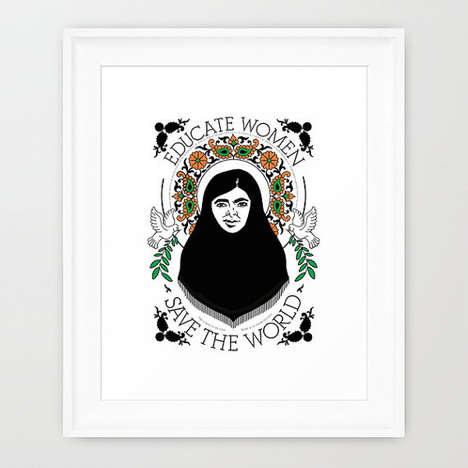 Peace Promoting Prints - Remember the Nobel Peace Prize Winner's Work With a Malala Yousafzai Poster