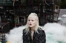 Dystopian Couture Editorials - Model Maja Salamon Poses Amongst Rubble for Vogue Ukraine
