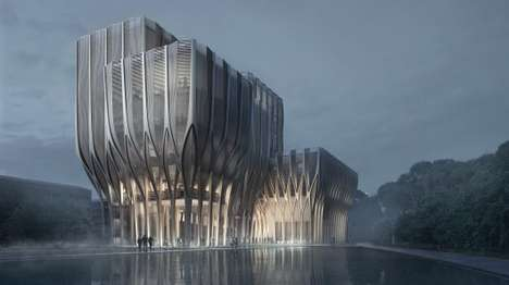 Monolithic Wooden Buildings - Cambodia's Sleuk Rith Institute is Designed By Zaha Hadid