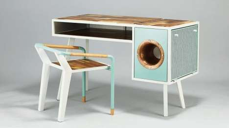 Phonograph-Embedded Desks - The Soundbox Desk Can Amplify Audio From Your Smartphone