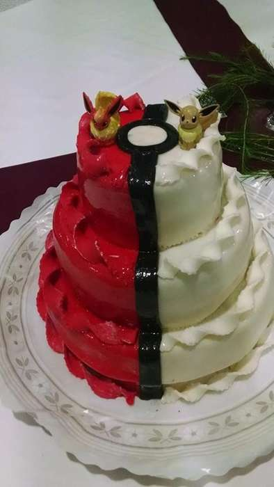 Anime Wedding Cakes - This Eevee-Topped Red and White Pokemon Cake was for a Geeky Wedding