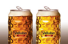 Dimpled Beer Cans - Volksbier's Unique Beer Can Mimics a Transparent Glass Beer Mug