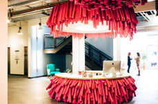 Pink Noodle Offices - Lyft's Startup Office Space Pays Homage to Their Magenta Mustache Mascot