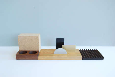 Modular Desk Accessories - This Minimalist Desk Set Contains Versatile Pieces that Fit Together