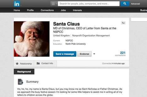 Christmas Networking Campaigns - NSPCC's Christmas Campaign Helps Santa Recruit on LinkedIn