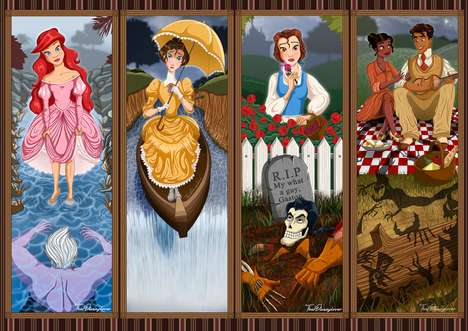 Haunted Disney Princesses - Artist Laura Knighton is Inspired by Haunted Mansion Stretch Portraits