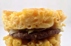 Towering Macaroni Burgers - This Mac and Cheese Burger Trades Burger Buns for Pasta