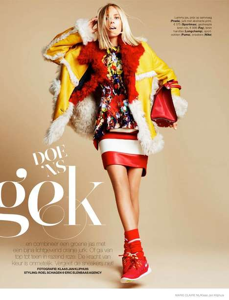 Vibrantly Eclectic Fall Fashion - Model Tosca Dekker Stars in the Latest Marie Claire Netherlands