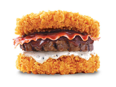 Bunless Meat Sandwiches - KFC's Double Down King Includes Beef, Pork and Chicken Pieces