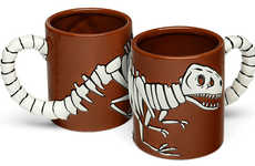 3D Dinosaur Mugs - The T-Rex Fossil Mug Features 2D and 3D Portions of the Jurassic Beast