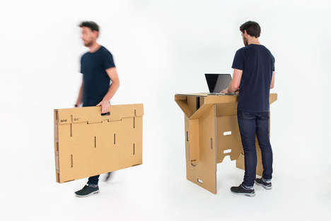 Mobile Cardboard Furniture - Refold's Recyclable Standing Portable Desk Quickly Folds Into Itself
