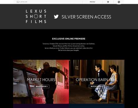 Social Pre-Screening Campaigns - This Twitter Campaign Gives Advance Access to Lexus' Short Films