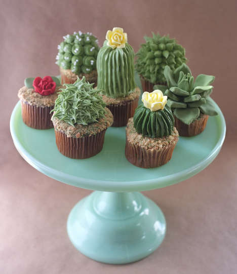 Deceiving Cactus Cakes - These Cupcakes by Baker Alan Jones-Mann Resemble the Desert Plant Perfectly