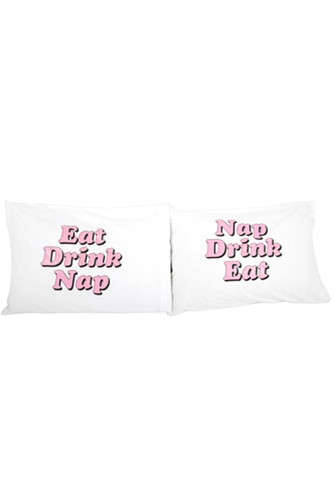 Prioritized Pillow Cases - The Eat Drink Nap Pillow Case Lists the Important Stuff
