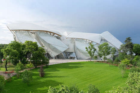 Dynamic Fashion Buildings - Fondation Louis Vuitton by Frank Gehry is an Artwork of Glass