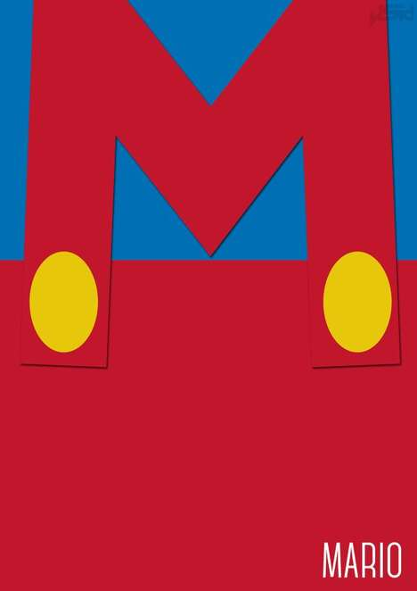 Minimalist Arcade Game Art - John Sideris Depicts Simplistic Versions of Super Mario Characters
