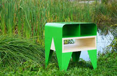 Sleek Amphibian Furnishings - Nab Design's Green Frog Table Boasts a Streamlined Look