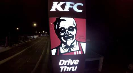 Undead Brand Logos - KFC's Creepy Colonel Halloween Logo Spooks Drive-Through Customers