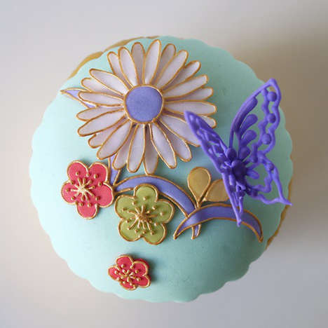 Elegant Japanese Desserts - These Decorated Cupcake Treats Boasts Traditional Art Motifs