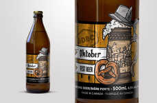 Autumnal Beer Branding - Barn Door Brewing's Fall Beer Bottles Highlights the Best of the Season