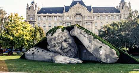 Sleeping Giant Sculptures - This Garden Sculpture Has Been Creates as Part of Art Market Budapest