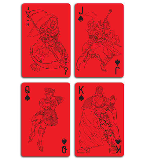 Artful Poker Accessories - These Red Playing Cards Boast Heroic Suit Graphics