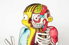 Anatomical Cartoon Cakes - Kylie Mangles's The Simpsons Cake Features a Dissected Ralph Wiggum
